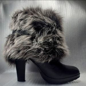 100%LEATHER FUR ANKLE CHOCOLATE BOOTIES 9
